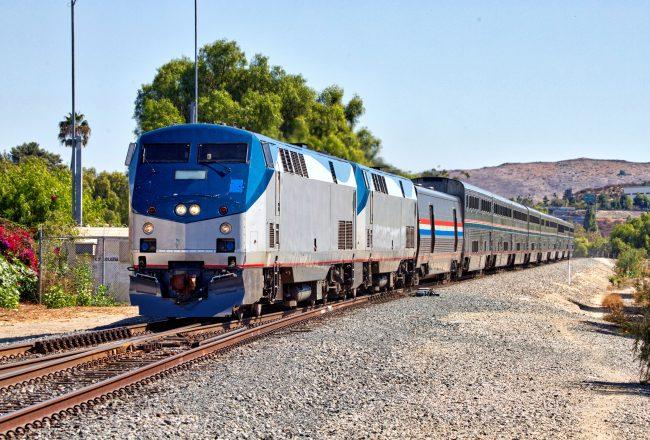 photo of the Amtrak Coast Starlight (Los Angeles - Seattle) train at Moorpark, California.