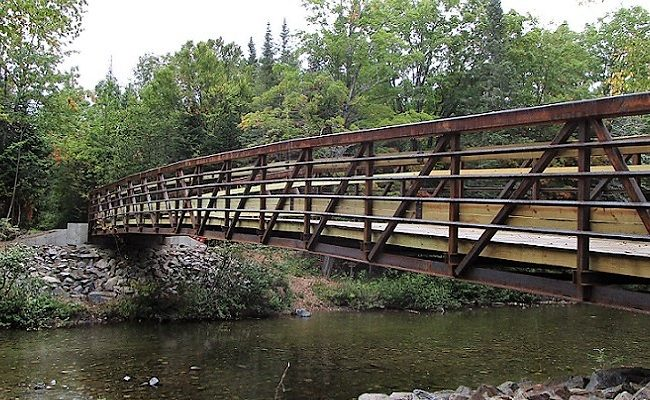 photo of a wooden bridge over a stream