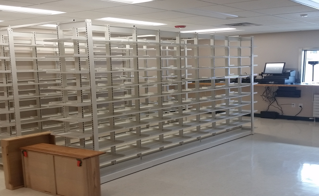 photo of a workspace with many empty shelves