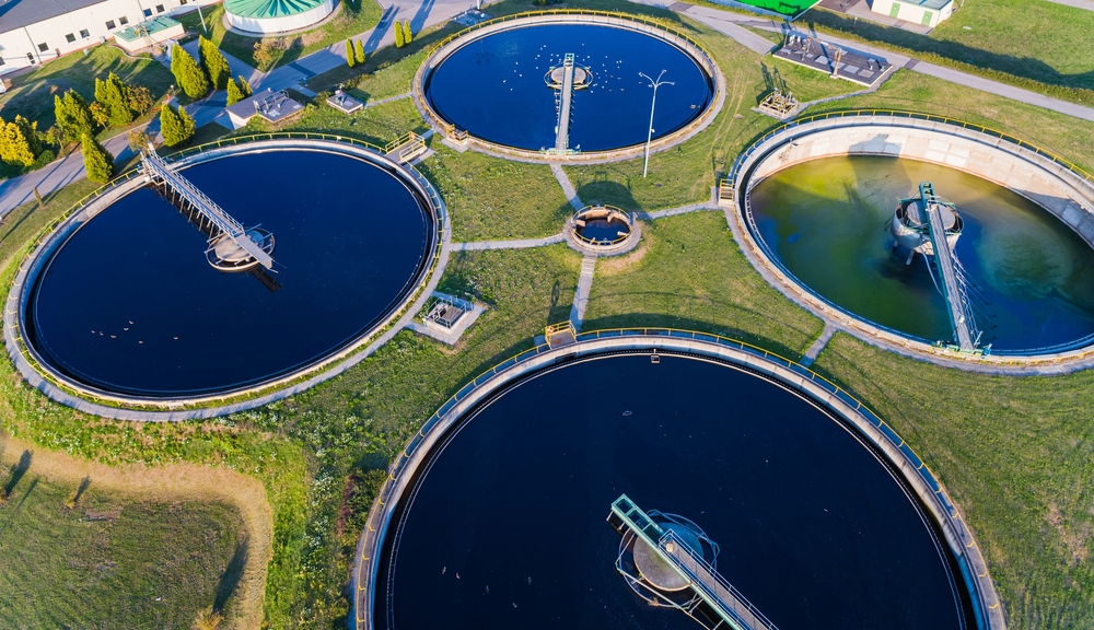 arial photo of water wastewater treatment plant