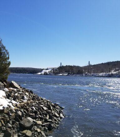 exterior photo of penobscot river in bucksport maine in winter