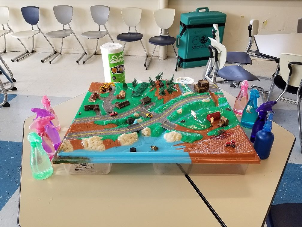 Photo of a State of Maine stormwater model for stormwater awareness demonstrations for school children
