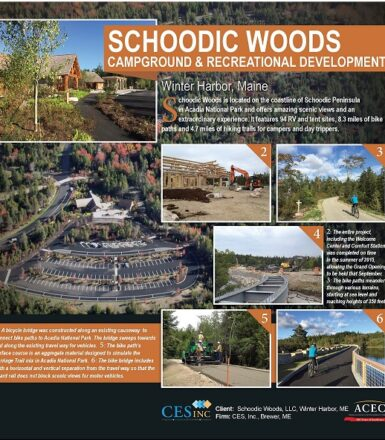 infographic display of schoodic woods campground and recreational development