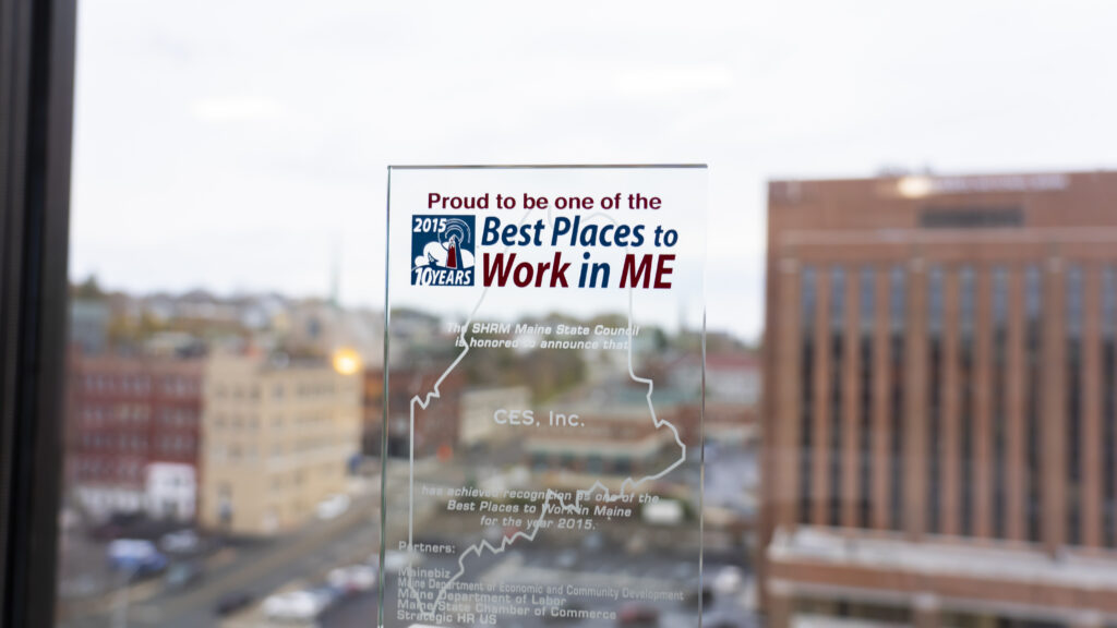 photo of proud to be one of the best places to work in maine 2015 award